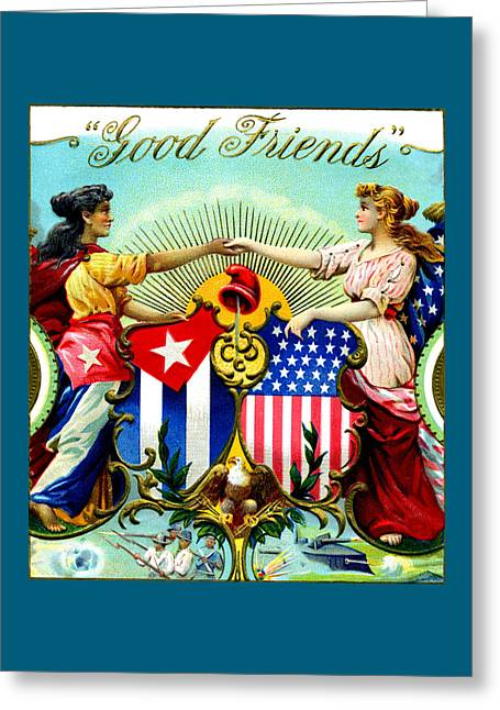 1898 Good Friends Cuban Cigars Greeting Card by Historic Image