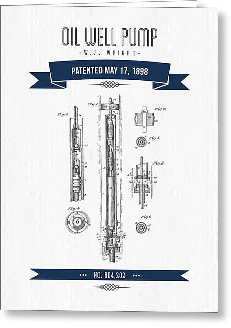 1898 Oil Well Pump Patent Drawing - Retro Navy Blue Greeting Card by Aged Pixel