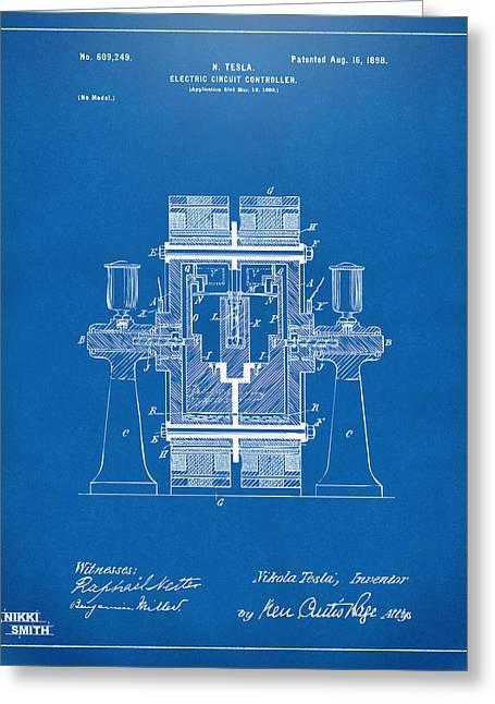 1898 Tesla Electric Circuit Patent Artwork - Blueprint Greeting Card by Nikki Marie Smith