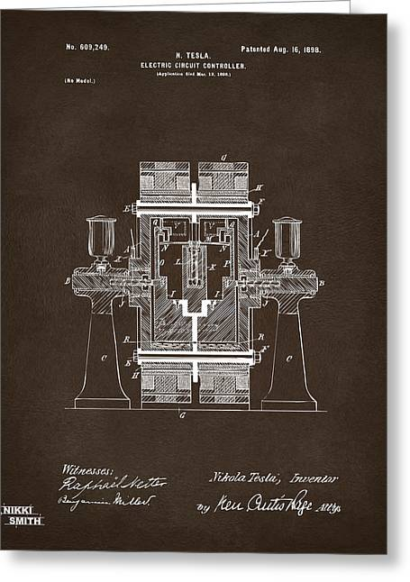 Greeting Card featuring the drawing 1898 Tesla Electric Circuit Patent Artwork Espresso by Nikki Marie Smith