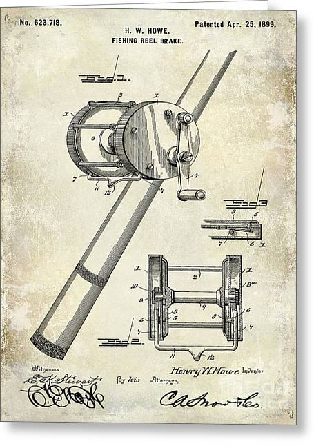 1899 Fishing Reel Brake Patent Drawing Greeting Card