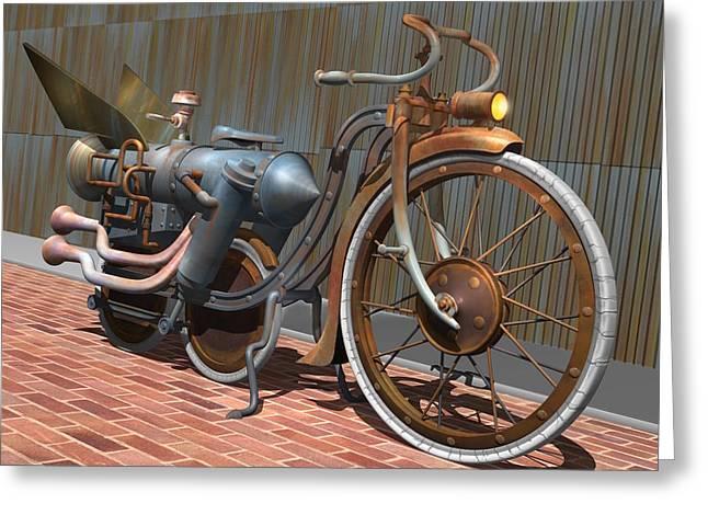 1899 Inline Steam Trike Greeting Card