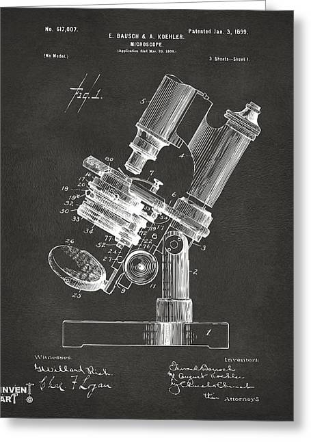 1899 Microscope Patent Gray Greeting Card