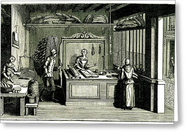 18th Century Bakery Greeting Card by Collection Abecasis/science Photo Library