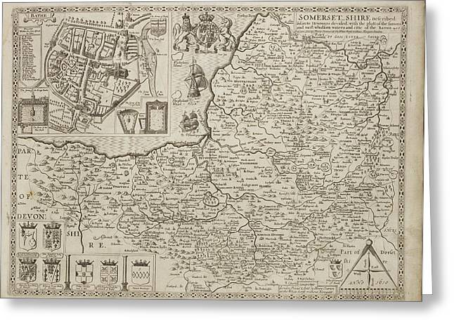18th Century Map Of Somersetshire Greeting Card by British Library