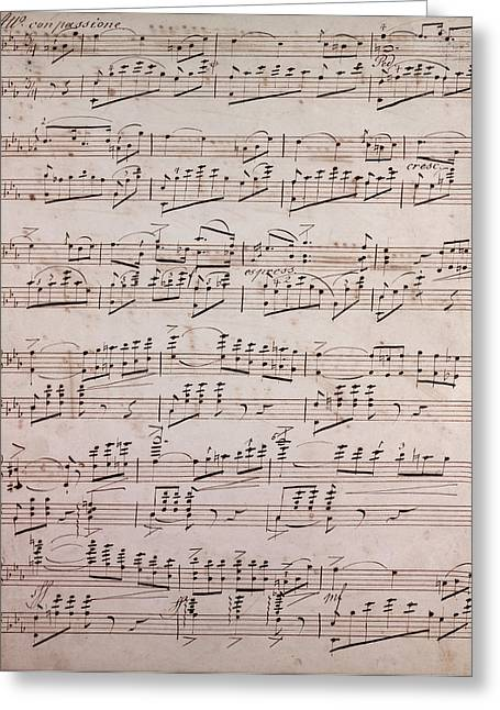 Handwritten Sheet Music, Music Notes, 19th Century Greeting Card by Litz Collection