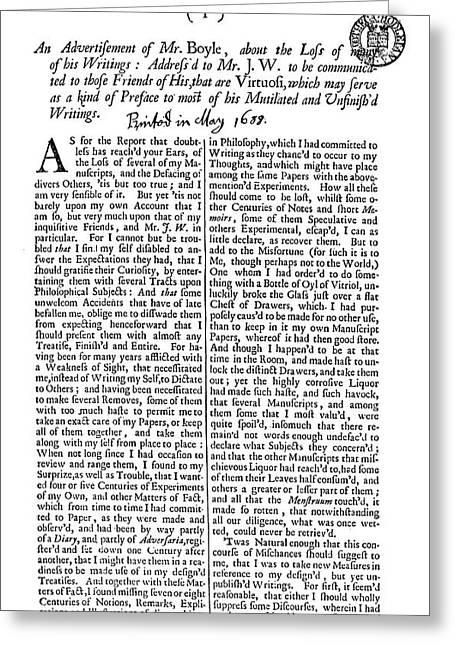 Robert Boyle (1627-1691) Greeting Card by Granger
