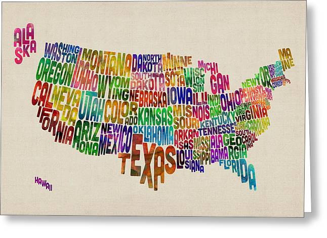 United States Typography Text Map Greeting Card by Michael Tompsett