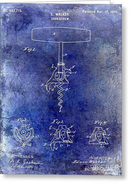 1900 Corkscrew Patent Drawing Blue Greeting Card
