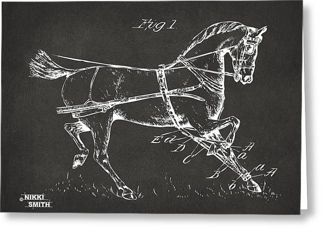1900 Horse Hobble Patent Artwork - Gray Greeting Card by Nikki Marie Smith