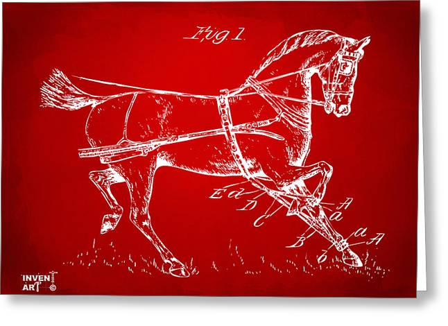 1900 Horse Hobble Patent Artwork Red Greeting Card