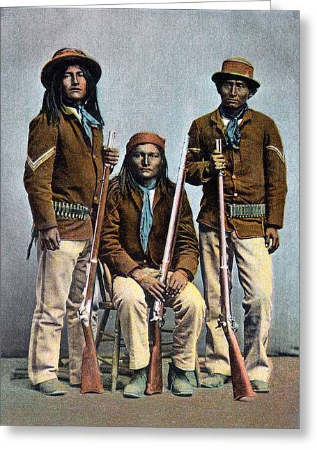 1900 Us Army Apache Indian Scouts Greeting Card by Historic Image