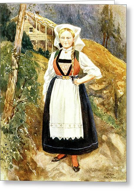 1900s 1902 Illustration Woman Of Norway Greeting Card