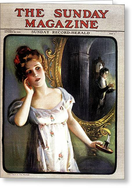 1900s 1904 Woman With Candle Sees Man Greeting Card