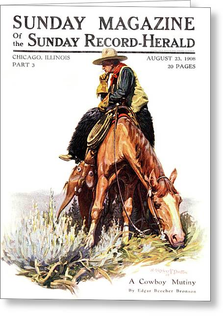 1900s Sunday Magazine Cover Lone Cowboy Greeting Card