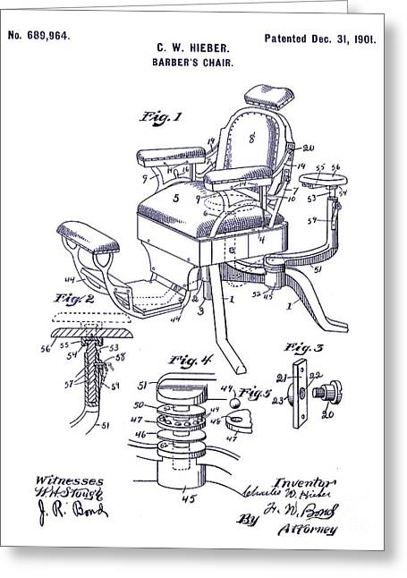 1901 Barber Chair Patent Blueprint Greeting Card