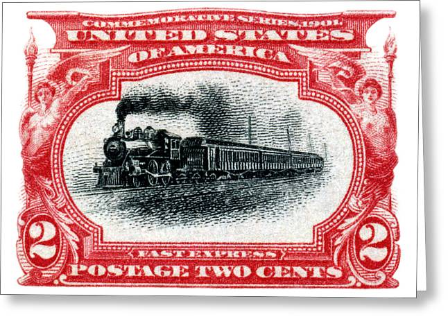 1901 Fast Express Railroad Stamp  Greeting Card by Historic Image