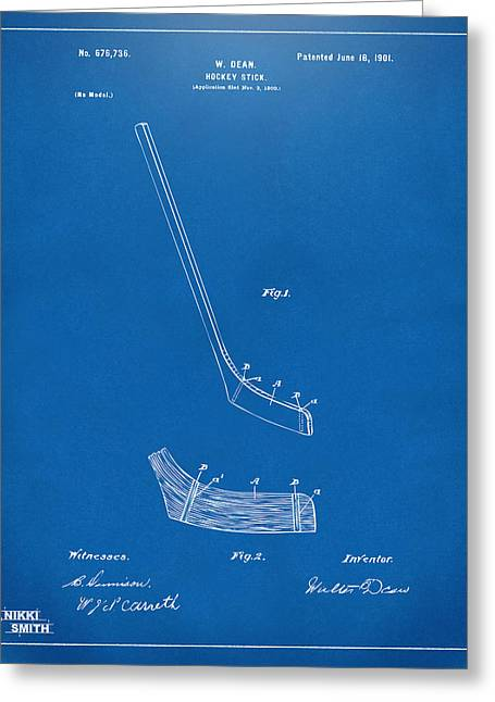 1901 Hockey Stick Patent Artwork - Blueprint Greeting Card by Nikki Marie Smith