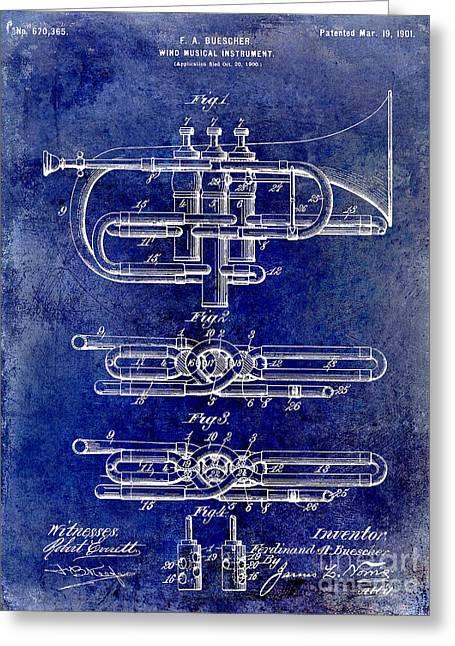 1901 Wind Musical Instrument Patent Drawing Blue Greeting Card by Jon Neidert