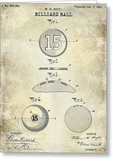 1902 Billiard Ball Patent Drawing Greeting Card