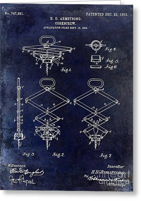 1902 Corkscrew Patent Blue  Greeting Card by Jon Neidert