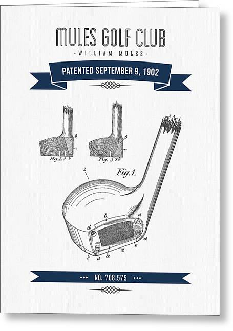 1902 Mules Golf Club Patent Drawing - Retro Navy Blue Greeting Card by Aged Pixel