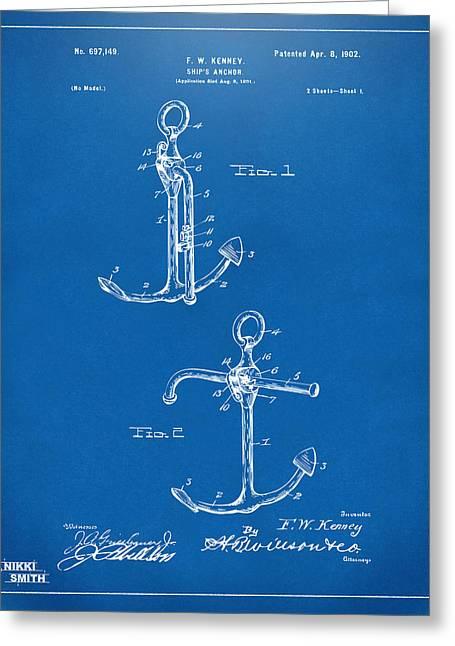 1902 Ships Anchor Patent Artwork - Blueprint Greeting Card
