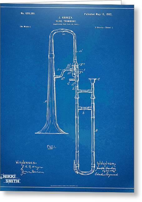 1902 Slide Trombone Patent Blueprint Greeting Card by Nikki Marie Smith