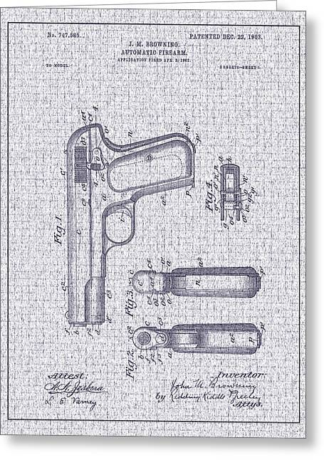 1903 Browning Automatic Pistol Patent Greeting Card by Barry Jones