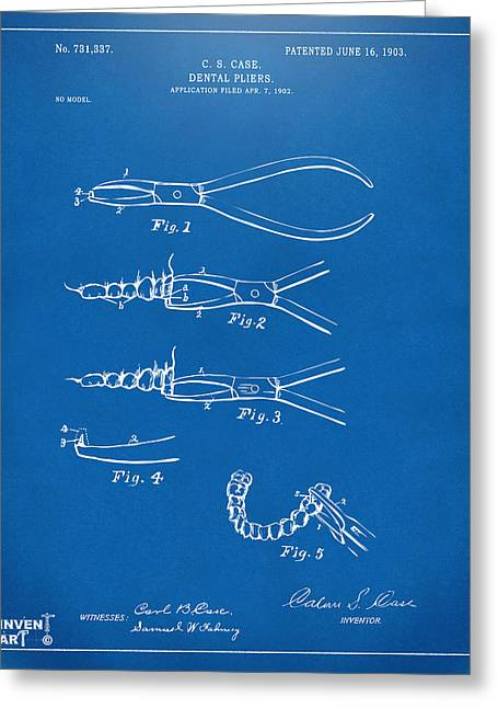 1903 Dental Pliers Patent Blueprint Greeting Card