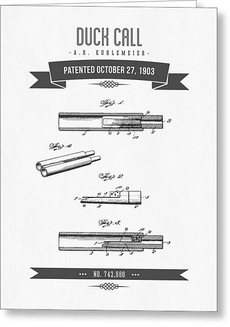1903  Duck Call Patent Drawing Greeting Card by Aged Pixel