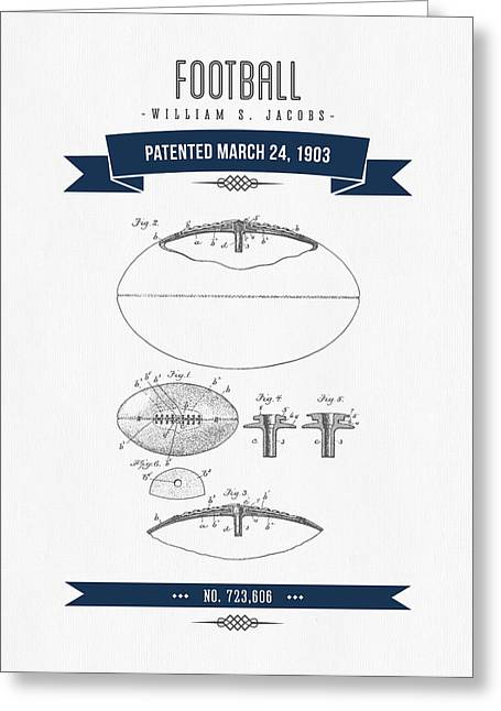 1903 Football Patent Drawing - Navy Blue Greeting Card by Aged Pixel