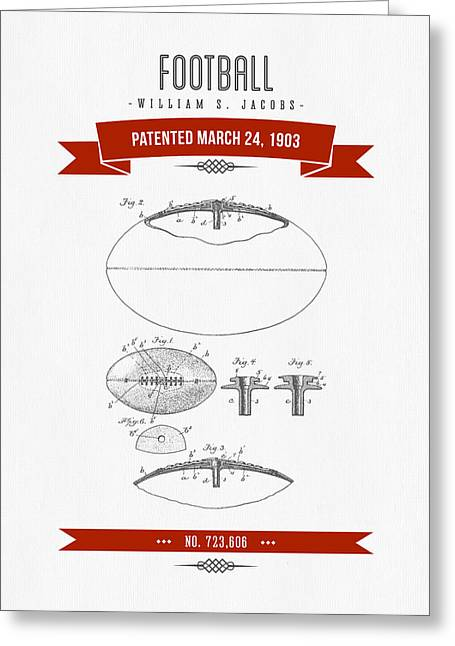 1903 Football Patent Drawing - Retro Red Greeting Card by Aged Pixel