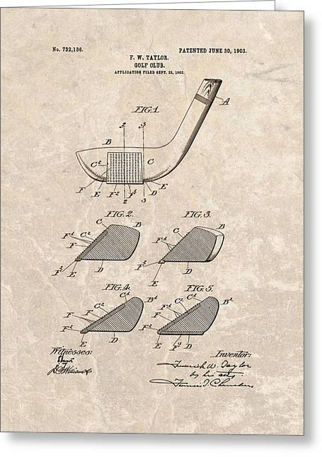 1903 Golf Club Patent Greeting Card by Dan Sproul