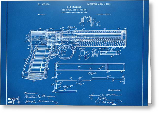 1903 Mcclean Pistol Patent Artwork - Blueprint Greeting Card