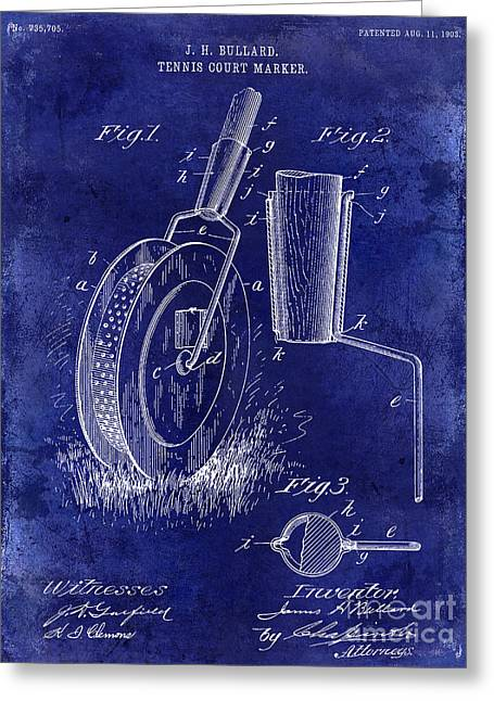 1903 Tennis Court Marker Patent Drawing Blue Greeting Card