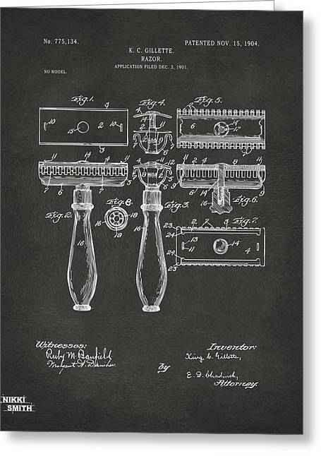 1904 Gillette Razor Patent Artwork - Gray Greeting Card by Nikki Marie Smith