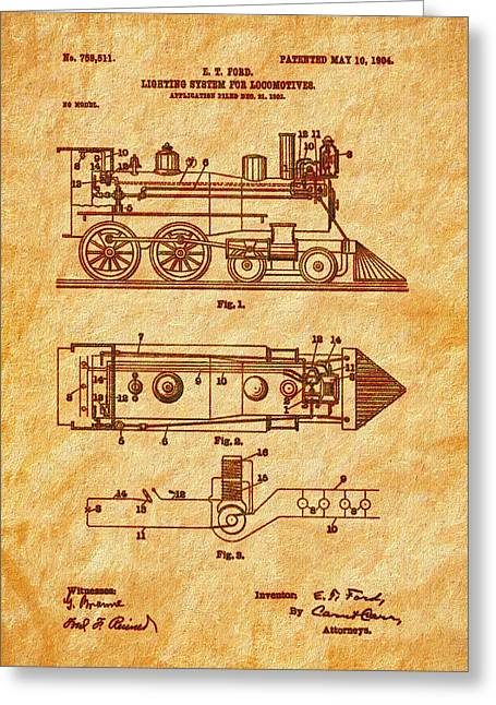 1904 Locomotive Patent Art-2 Greeting Card