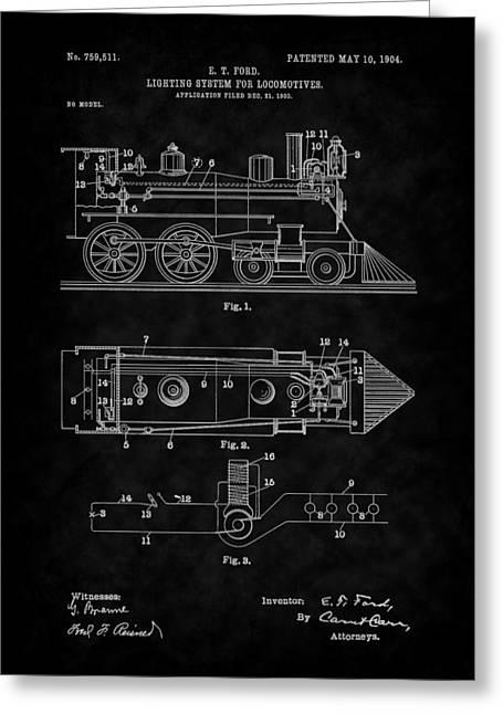 1904 Locomotive Patent Art-bk Greeting Card