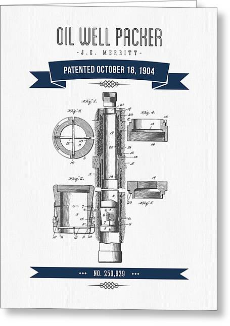 1904 Oil Well Packer Patent Drawing - Retro Navy Blue Greeting Card by Aged Pixel