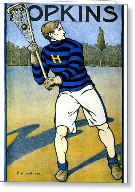 1905 - Johns Hopkins University Lacrosse Poster - Color Greeting Card