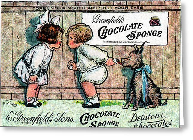 1905 Chocolate Candy Ad Greeting Card by Historic Image