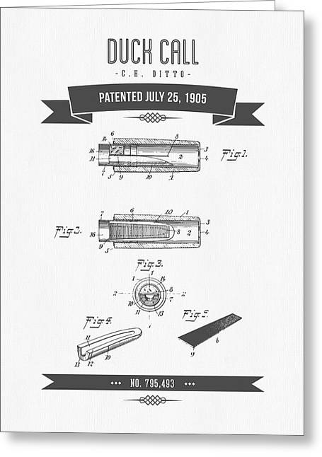 1905 Duck Call Instrument Patent Drawing Greeting Card by Aged Pixel