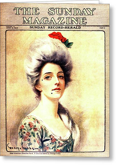 1905 Magazine Cover Portrait Of 1700s Greeting Card
