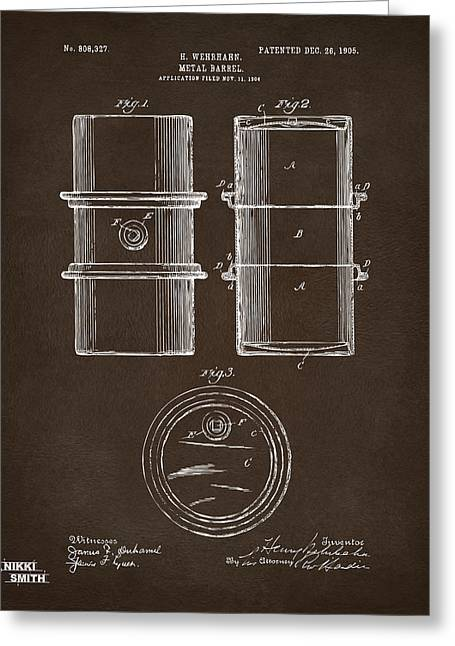 Greeting Card featuring the drawing 1905 Oil Drum Patent Artwork Espresso by Nikki Marie Smith