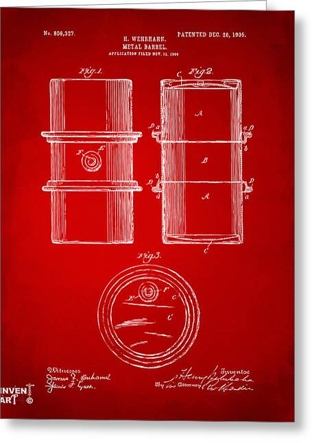 1905 Oil Drum Patent Artwork - Red Greeting Card