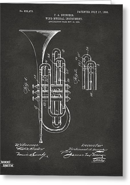 1906 Brass Wind Instrument Patent Artwork - Gray Greeting Card by Nikki Marie Smith
