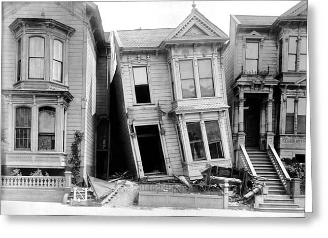 1906 Earthquake Damages Homes Greeting Card by Underwood Archives