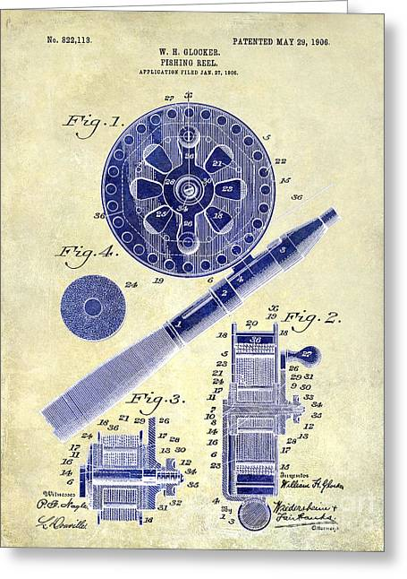 1906 Fishing Reel Patent Drawing 2 Tone Greeting Card by Jon Neidert