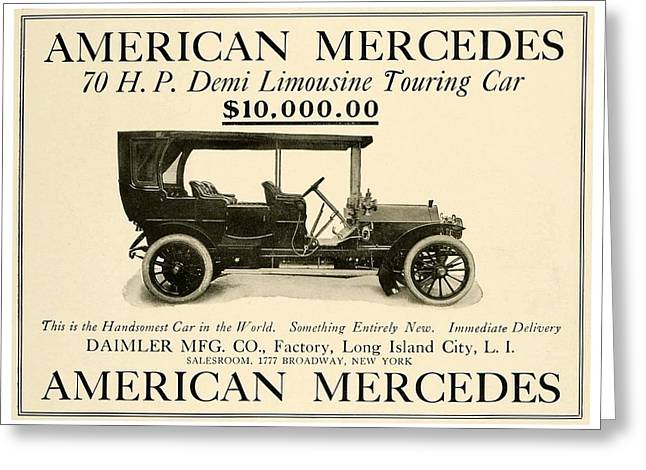 1907 - Daimler Manufacturing Company - American Mercedes Demi Limousine Automobile Advertisement Greeting Card by John Madison